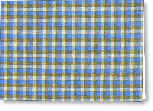 Blue Green And White Plaid Pattern Cloth Background Greeting Card by Keith Webber Jr