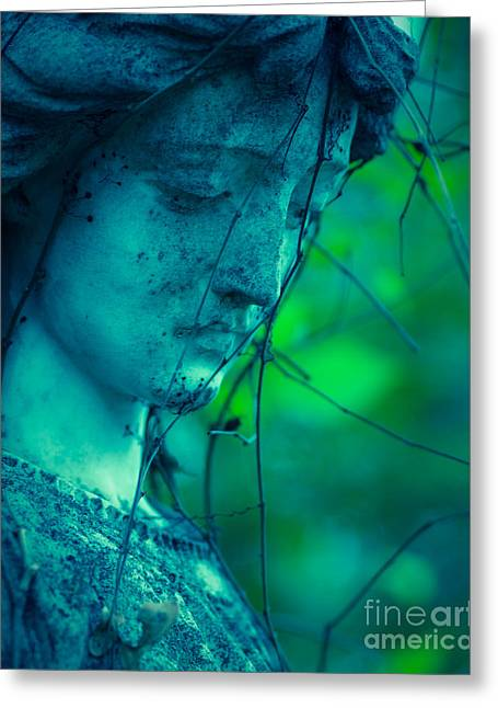 Blue Green Angel Greeting Card by Sonja Quintero