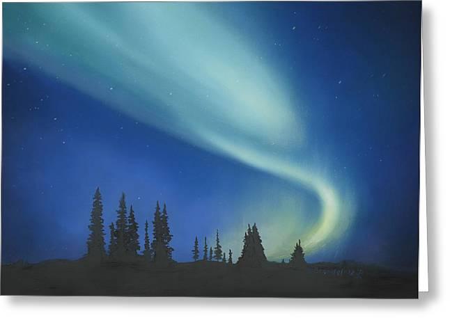 Blue Green Aurora Borealis Greeting Card by Cecilia Brendel