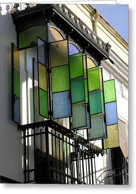 Blue-green-gold Windows In Cordoba Greeting Card by Jacqueline M Lewis