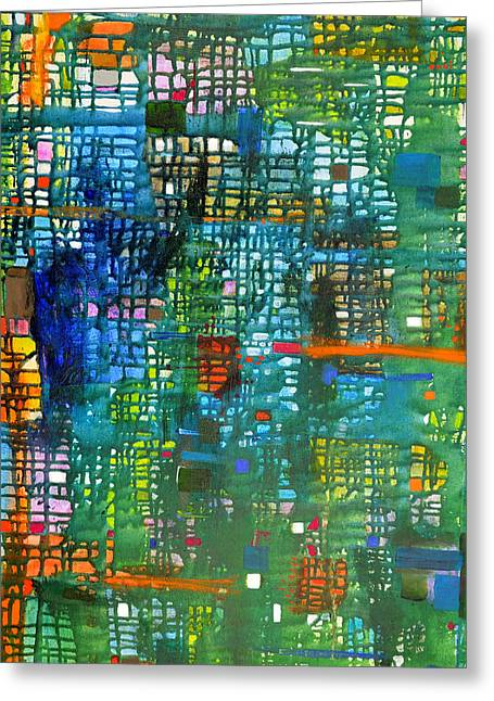 Blue Green Grid Greeting Card by Regina Valluzzi