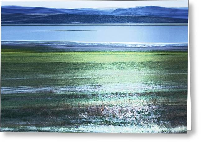 Blue Green Landscape Greeting Card