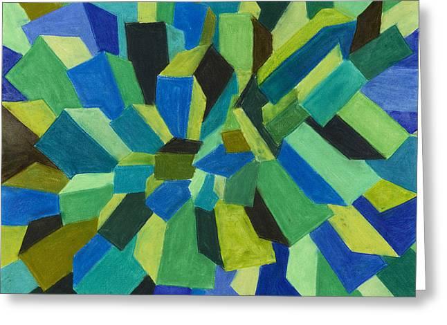 Blue Green Pastel Greeting Card