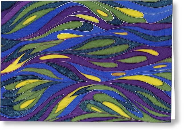 Blue Green Yellow  Abstract Silk Design Greeting Card by Sharon Freeman