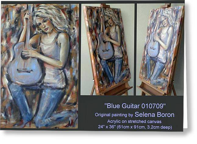Greeting Card featuring the painting Blue Guitar 010709 Comp by Selena Boron