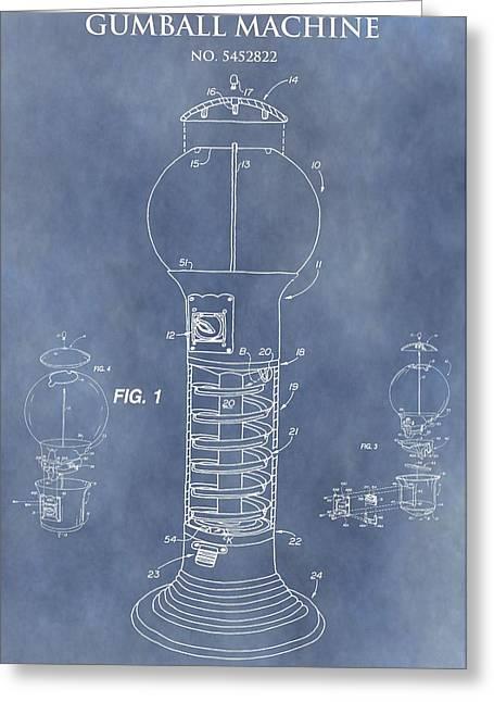 Blue Gumball Machine Patent Greeting Card