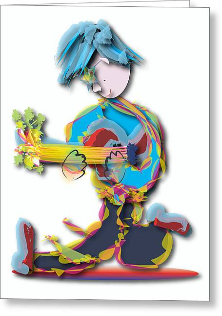 Blue Hair Guitar Player Greeting Card by Marvin Blaine