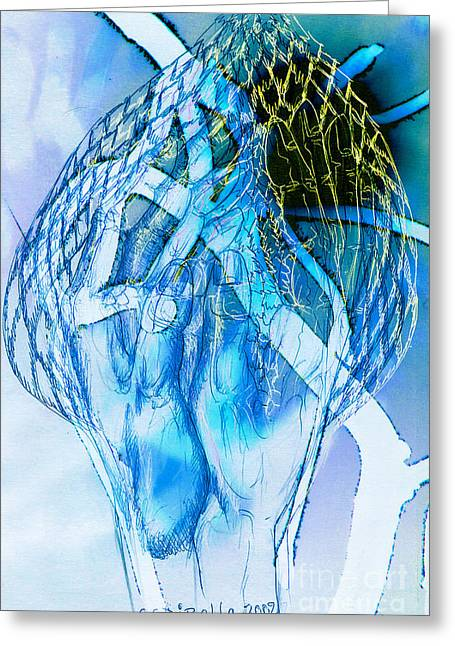 Blue Hands Greeting Card