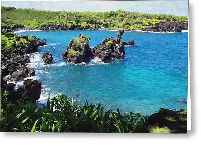 Greeting Card featuring the photograph Blue Hawaiian Lagoon Near Blacksand Beach On Maui by Amy McDaniel