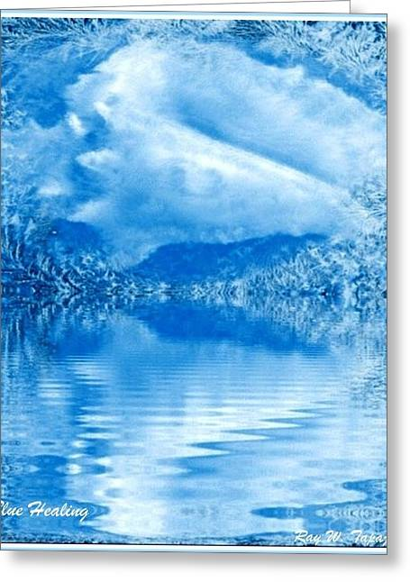 Greeting Card featuring the mixed media Blue Healing by Ray Tapajna