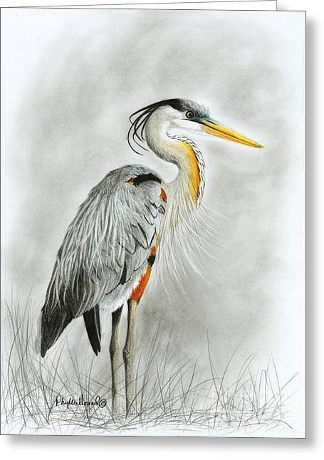 Greeting Card featuring the drawing Blue Heron 3 by Phyllis Howard