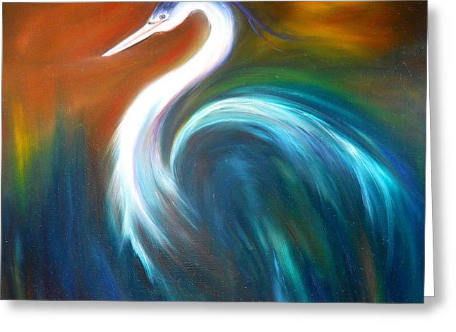 Greeting Card featuring the painting Blue Heron by Dorothy Maier