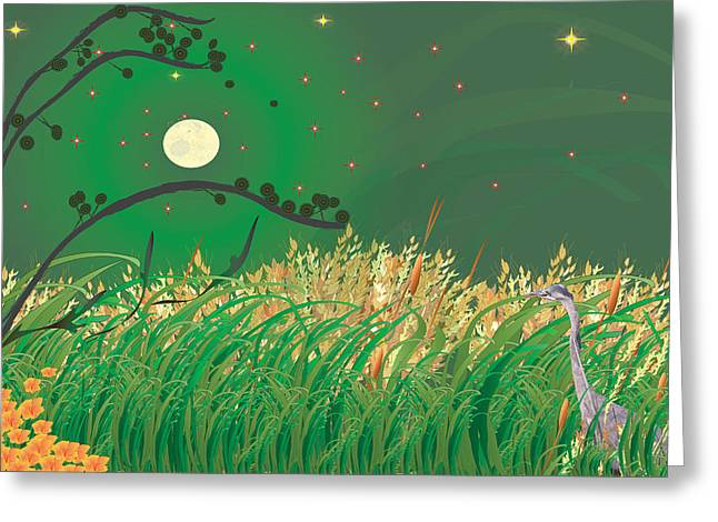 Blue Heron Grasses Greeting Card
