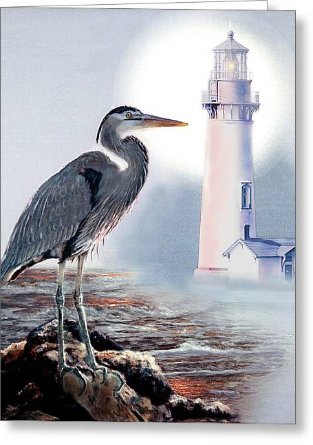 Blue Heron In The Circle Of Light Greeting Card by Regina Femrite