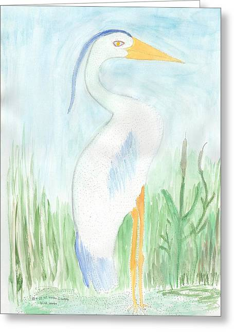 Blue Heron In The Tules Greeting Card by Helen Holden-Gladsky