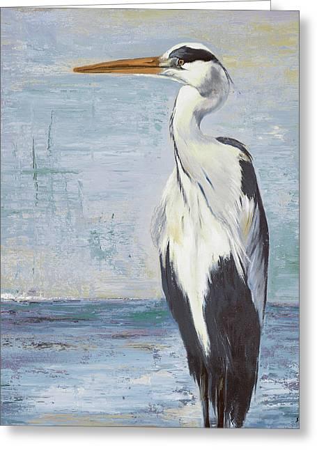 Blue Heron On Blue II Greeting Card