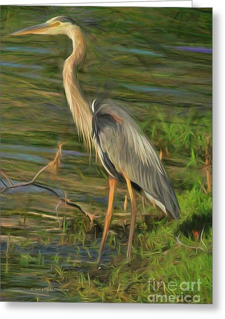 Blue Heron On The Bank Greeting Card