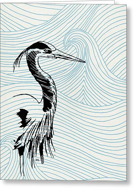 Blue Heron On Waves Greeting Card