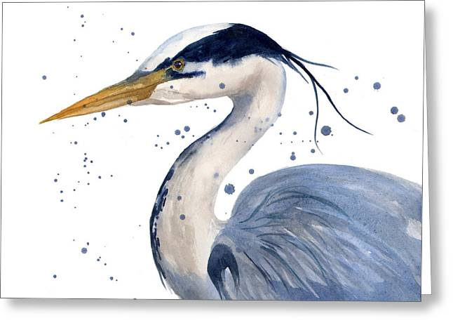 Blue Heron Painting Greeting Card by Alison Fennell