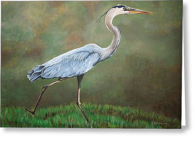 Blue Heron Greeting Card by Pam Kaur