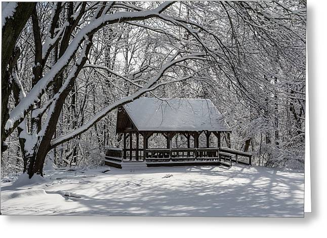 Blue Heron Park After Snowfall Greeting Card by Kenneth Cole