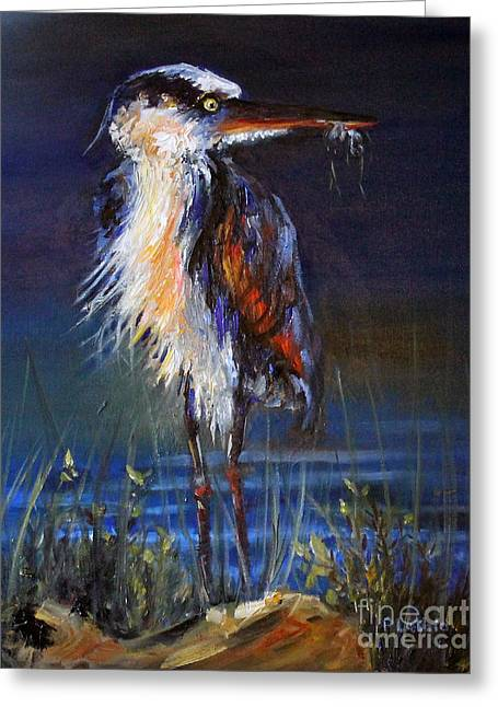Greeting Card featuring the painting Blue Heron by Priti Lathia