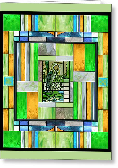 Blue Heron Stained Glass Greeting Card by Ellen Henneke