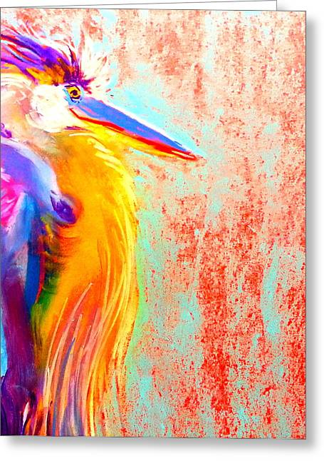 Funky Blue Heron Bird Greeting Card