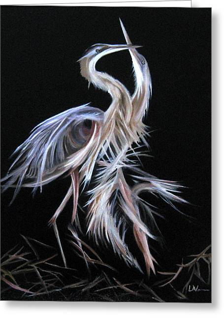 Blue Herons Mating Dance Greeting Card by LaVonne Hand
