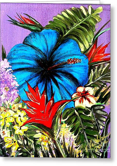 Blue Hibiscus Greeting Card by Valarie Pacheco