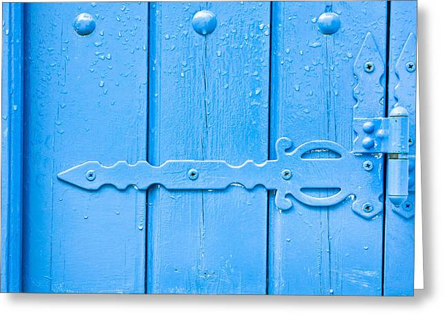 Blue Hinge Greeting Card by Tom Gowanlock