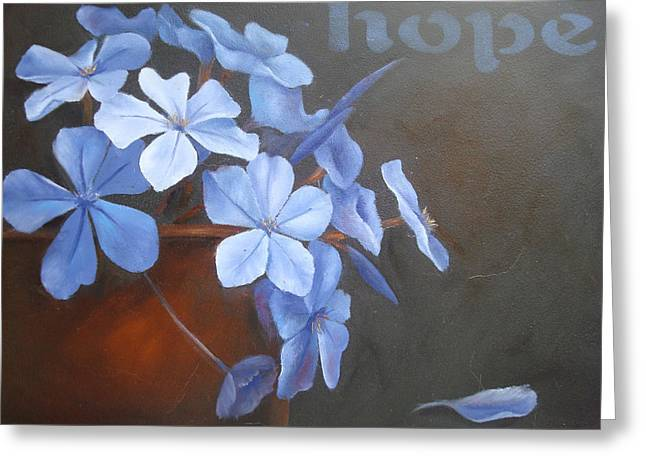Blue Hope Greeting Card by Sharron White