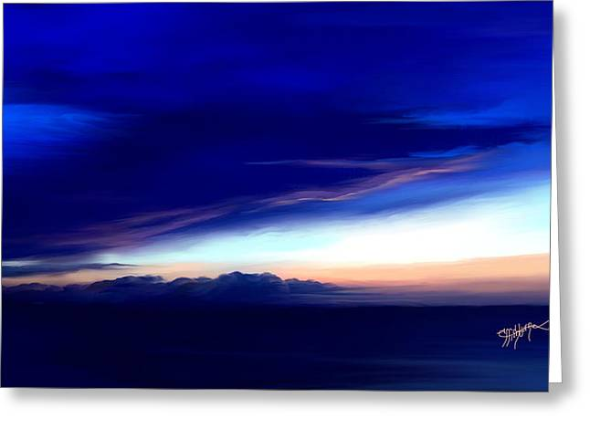 Greeting Card featuring the digital art Blue Horizon Dawn Over Sea by Anthony Fishburne