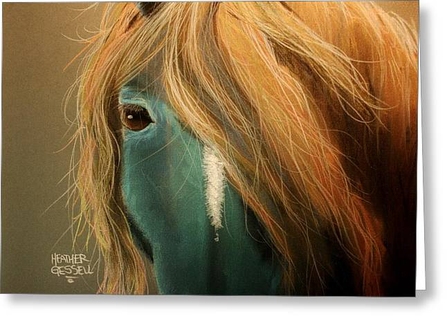 Blue Horse Greeting Card by Heather Gessell