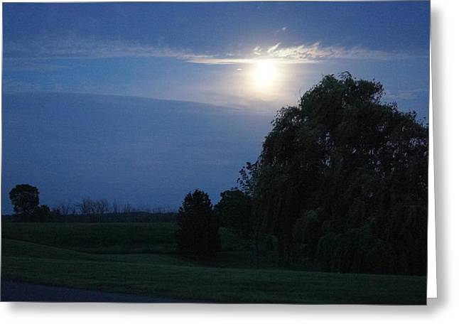 Blue Hour And The Country Moon Greeting Card