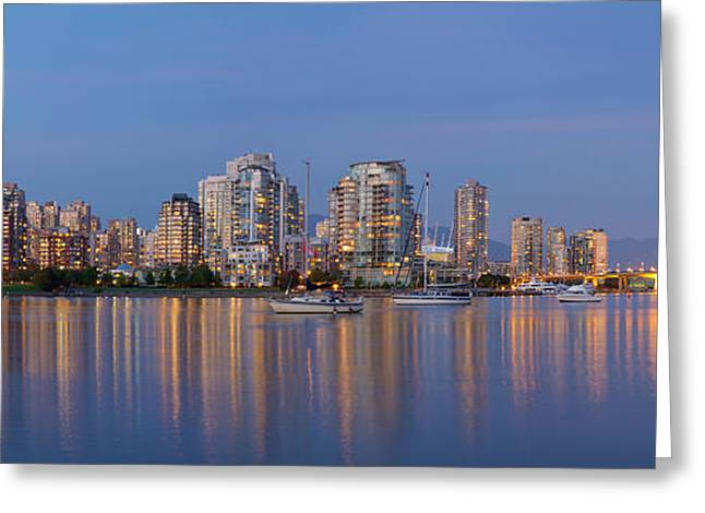 Greeting Card featuring the photograph Blue Hour At False Creek Vancouver Bc Canada by JPLDesigns