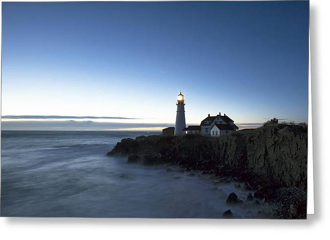 Blue Hour At Portland Head Greeting Card by Eric Gendron
