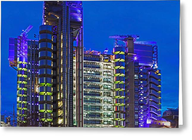 Blue Hour At The Lloyds Building Greeting Card by Pete Reynolds