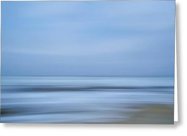 Blue Hour Beach Abstract Greeting Card by Linda Villers