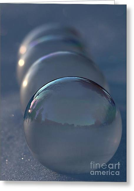 Blue Hour Frozen Bubbles Greeting Card