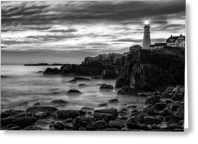 Blue Hour In Black And White Portland Head Light Greeting Card by Jeff Sinon