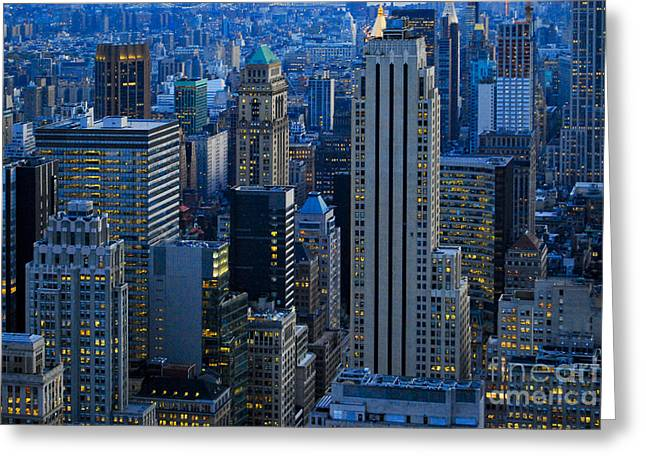 Blue Hour In New York City Usa Greeting Card