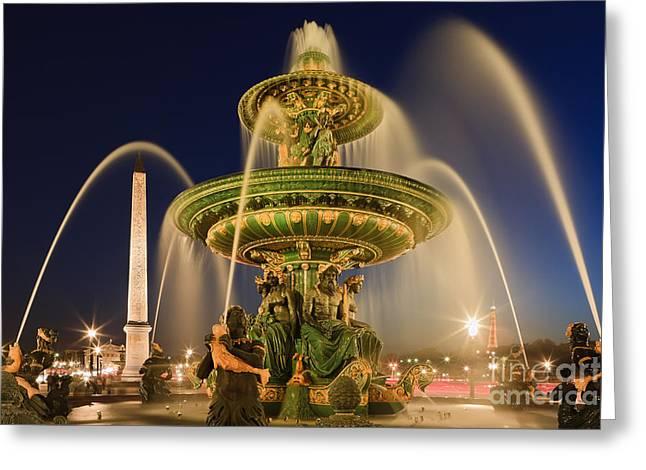 Blue Hour In Paris On Place De La Concorde Greeting Card