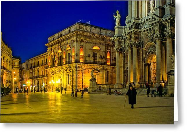 Blue Hour In Siracusa - Sicily Greeting Card by Martin Liebermann