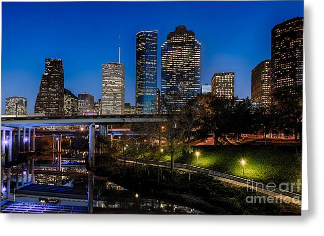 Blue Hour On Buffalo Bayou Greeting Card by Dee Zunker