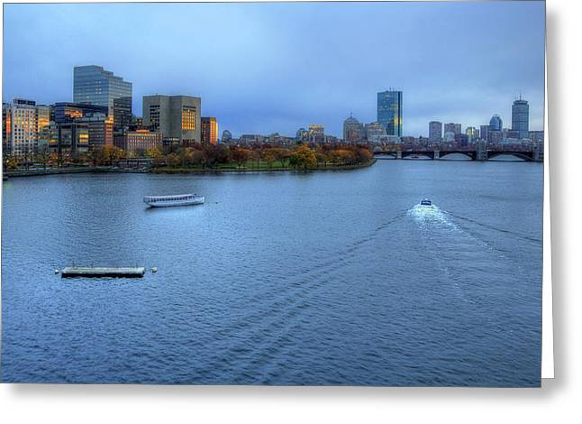 Blue Hour On The Charles Greeting Card