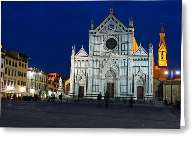 Blue Hour - Santa Croce Church Florence Italy Greeting Card