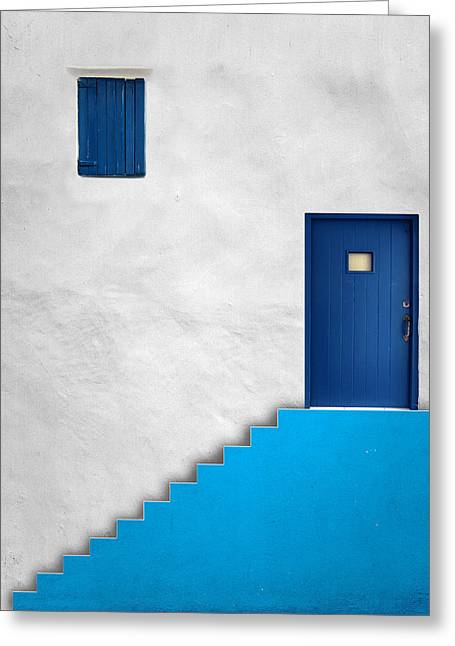 Blue House Greeting Card by Alfonso Novillo