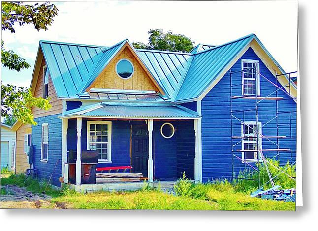 Blue House Greeting Card by Larry Campbell
