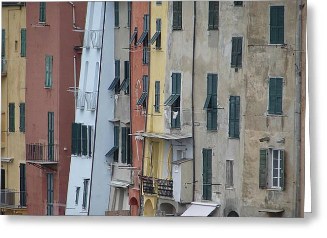 Blue House Portovenere Italy Greeting Card by Sally Ross